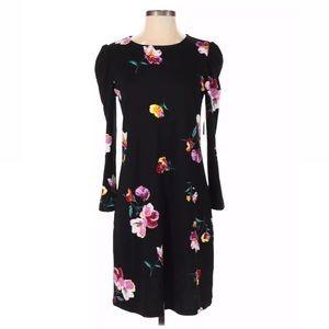 Old navy black print floral mini long sleeve dress